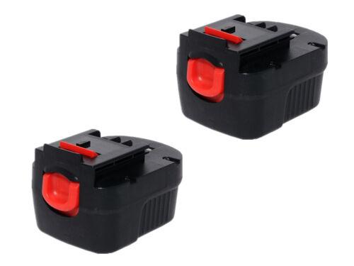 2x 2.0AH 12V Ni-MH Akku Für Black /& Decker A12 A12EX A1712 HPB12 Firestorm FS120