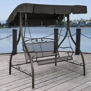outdoor furniture wrought iron patio swing canopy porch glider bench