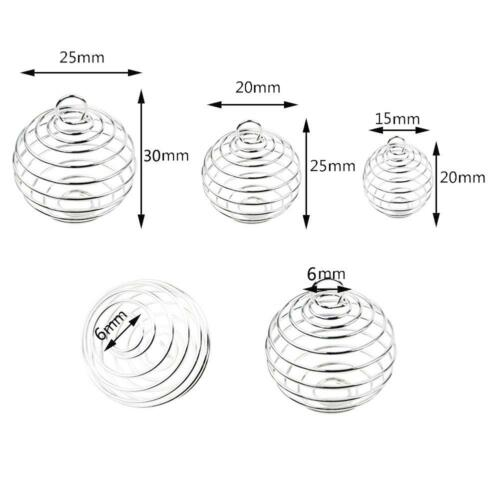 Silver Plated Spiral Bead Cages Pendants for Jewelry Craft Findings BA #J