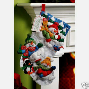 bucilla 18 inch christmas stocking felt applique kit 86108 snow fun - Christmas Stocking Kits