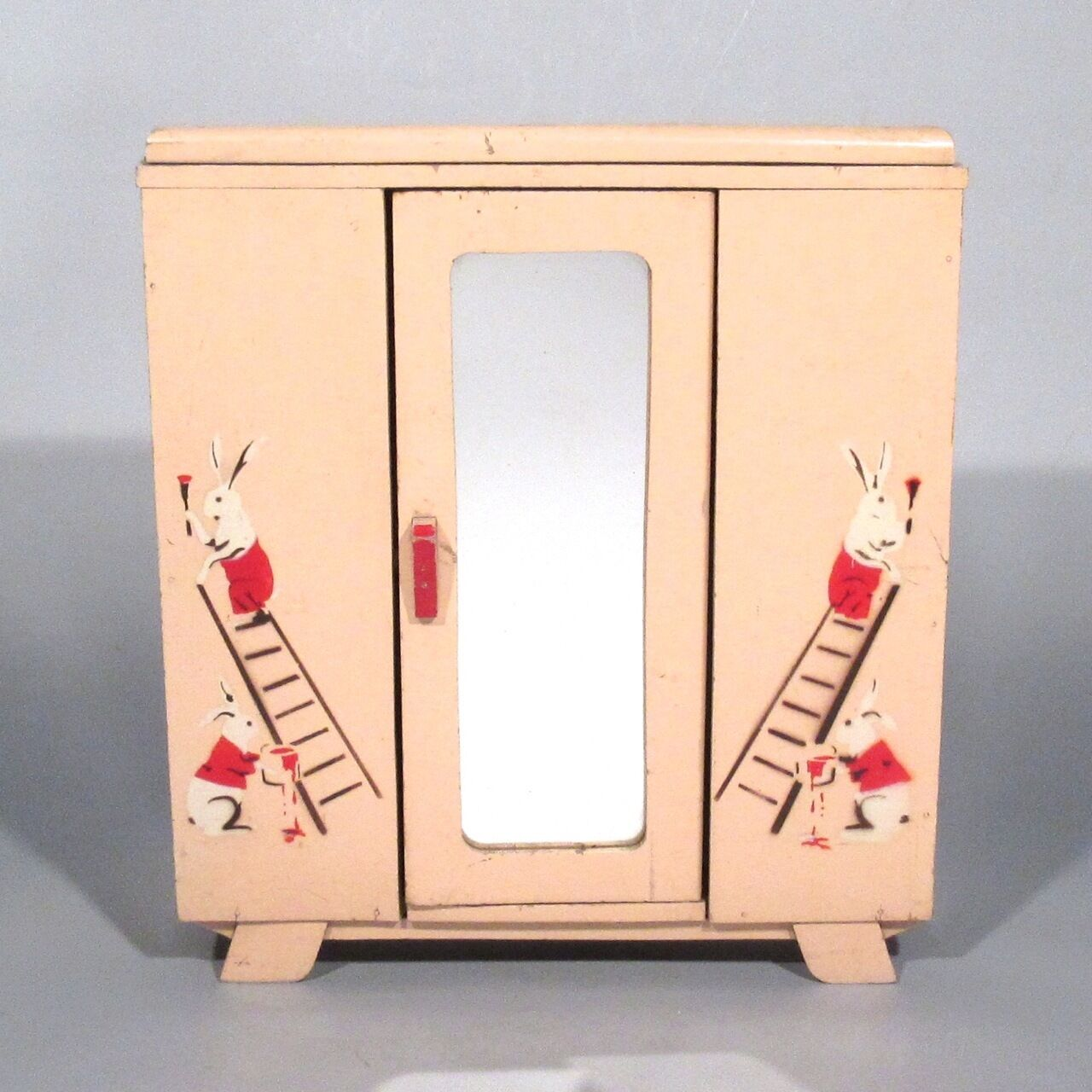 Vintage French Armoire, Art Deco Wooden Doll Furniture Armoire, French Rosa, Mirror, Rabbits 2200d8