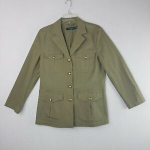 Womens Lauren Ralph Lauren Army Green Knit Cotton Elastane Blazer Jacket 12 Gold