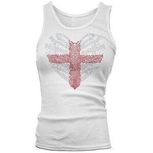 Women-039-s-Rhinestones-Crystal-Gems-Diamante-St-Georges-Cross-Heart-Tank-Top