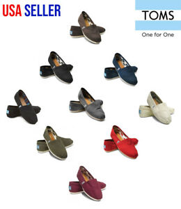 New-Authentic-TOMS-Women-039-s-CLASSIC-Solid-Canvas-Slip-on-flats-shoes-US-Sizes