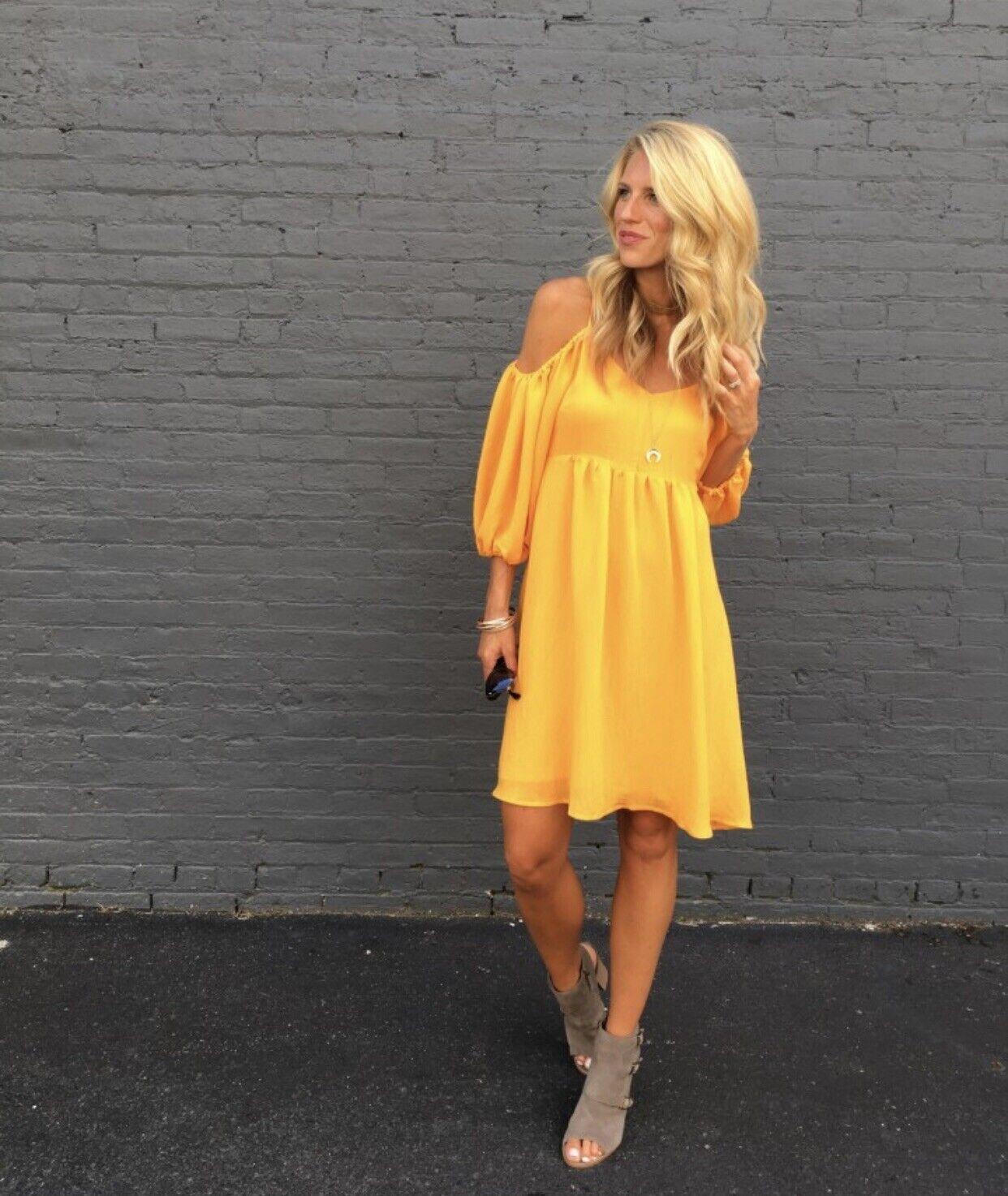 Anthropologie Moulinette Soeurs Carina Open-Shoulder Dress Sz Large Mango Yellow