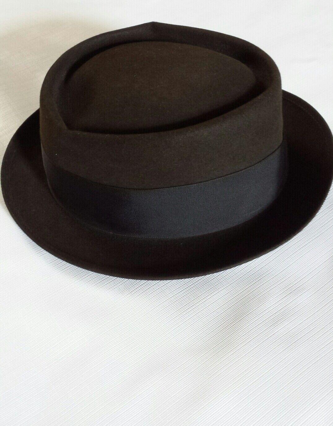 Vintage Mallory Pork Pie Style Felt Hat Size 7 1/8 - image 4