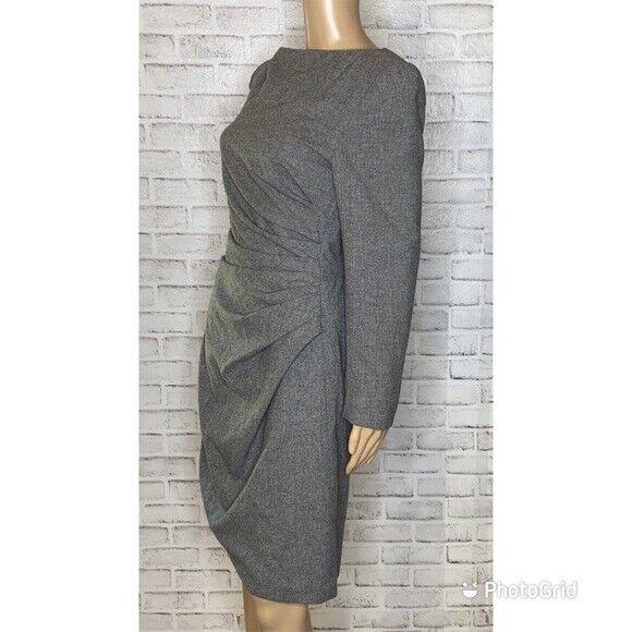 Scaasi Boutique vintage wool sheath dress 8 gray … - image 2