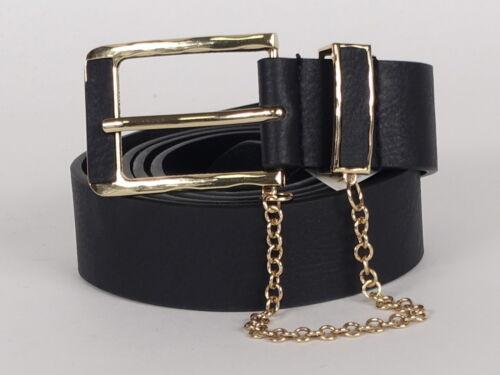 New Look Femmes Ceinture noir 105 115 cm Doré avec chaîne Jeans Ceinture