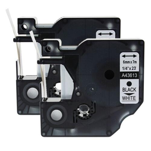 "2PK Black on White Label Tape 1//4/"" *23ft For Dymo D1 43613 LabelManager 160 450D"