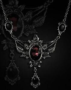 Restyle-Halskette-Dornroeschen-Gothic-Collier-Victorian-Rose-Vampire-Necklace-Rot