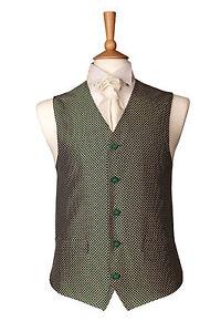 MENS WEDDING IVORY GREEN DIAMOND DRESS SUIT WAISTCOAT 34 36 40 42 44 46 48 50 52