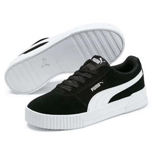 PUMA LADIES UK 5 CLASSIC SUEDE BLACK SILVER TRAINERS