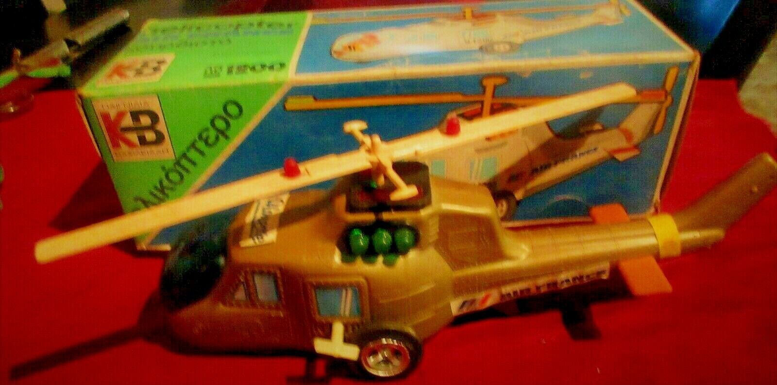 VINTAGE RARE GREEK HARD PLASTIC WIND UP HELICOPTER - AIR FRANCE -  BY KB 70s