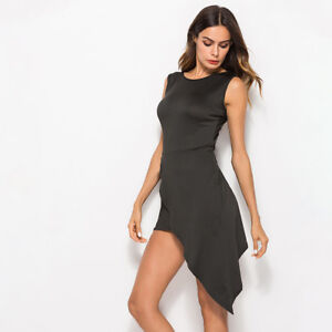 Sexy-Women-Asymmetry-Cut-Sleeveless-Bodycon-Club-Party-High-Slit-Dress-CB