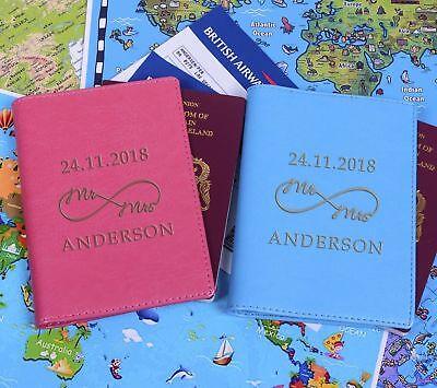 Personnalisé Mr /& Mrs Son Hers Mariée Marié passeport Couvre Holder Set Mariage