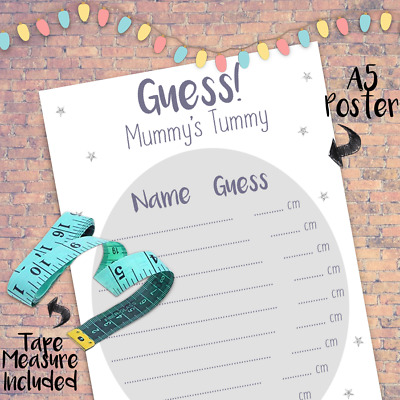 NEW 2020 Guess Mum/'s Tum Party Decoration Favor Tummy Baby Shower Game