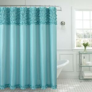 Beverly Hills Ruffle Premium Quality Fabric Shower Curtain 70x72