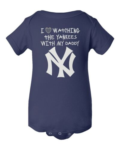 New York Yankees Pinstripe Heart Watching With Daddy Baby Short Sleeve Bodysuit