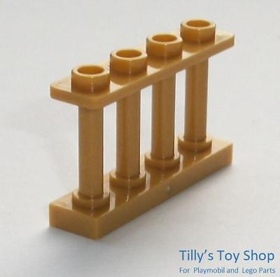 Pack Of 10 New 15332 Lego 1x4x2 Spindled Fence // Railings // In Pearl Gold