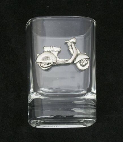 Vespa Scooter Cut Crystal Shot Tot Glass Cup Ideal Motorbike Gift 384