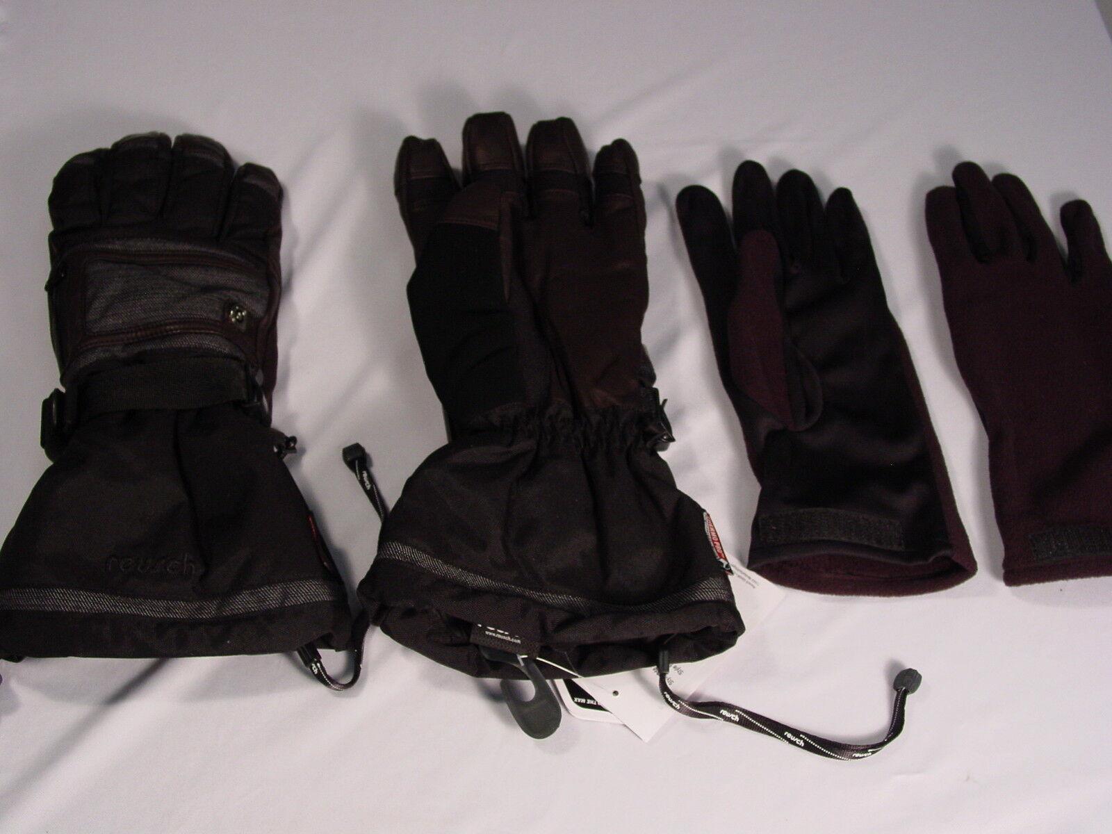 3 in 1 Reusch Schnee Leder Palmen Ski Handschuhe Medium 8.5 Kelle Rtex 2904206