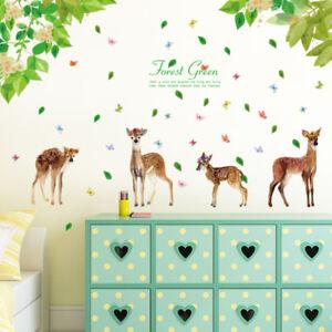 Wandtattoo Kinderzimmer Bambi Reh Wald Blätter Aufkleber bunt Baby ...