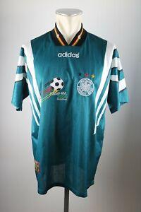 Deutschland-Trikot-1996-Gr-L-Adidas-Jersey-DFB-Germany-WM-Werbung-Away-gruen