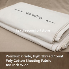 Sheeting Fabric 180TC Poly Cotton Percale White Colour 100 Inch Wide Per Metre