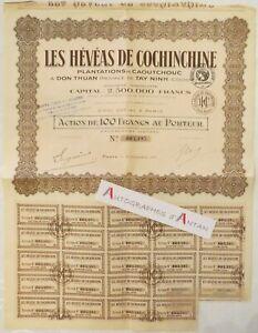 Société des plantations d/'hévéas de caukhoi action de 10 piastres 1949