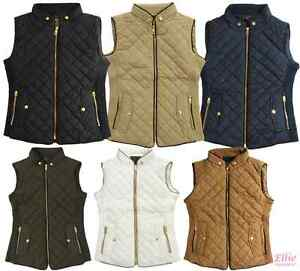 Women's Quilted Padded Vest black/cognac/navy/khaki/olive Sizes S ... : black quilted vest - Adamdwight.com