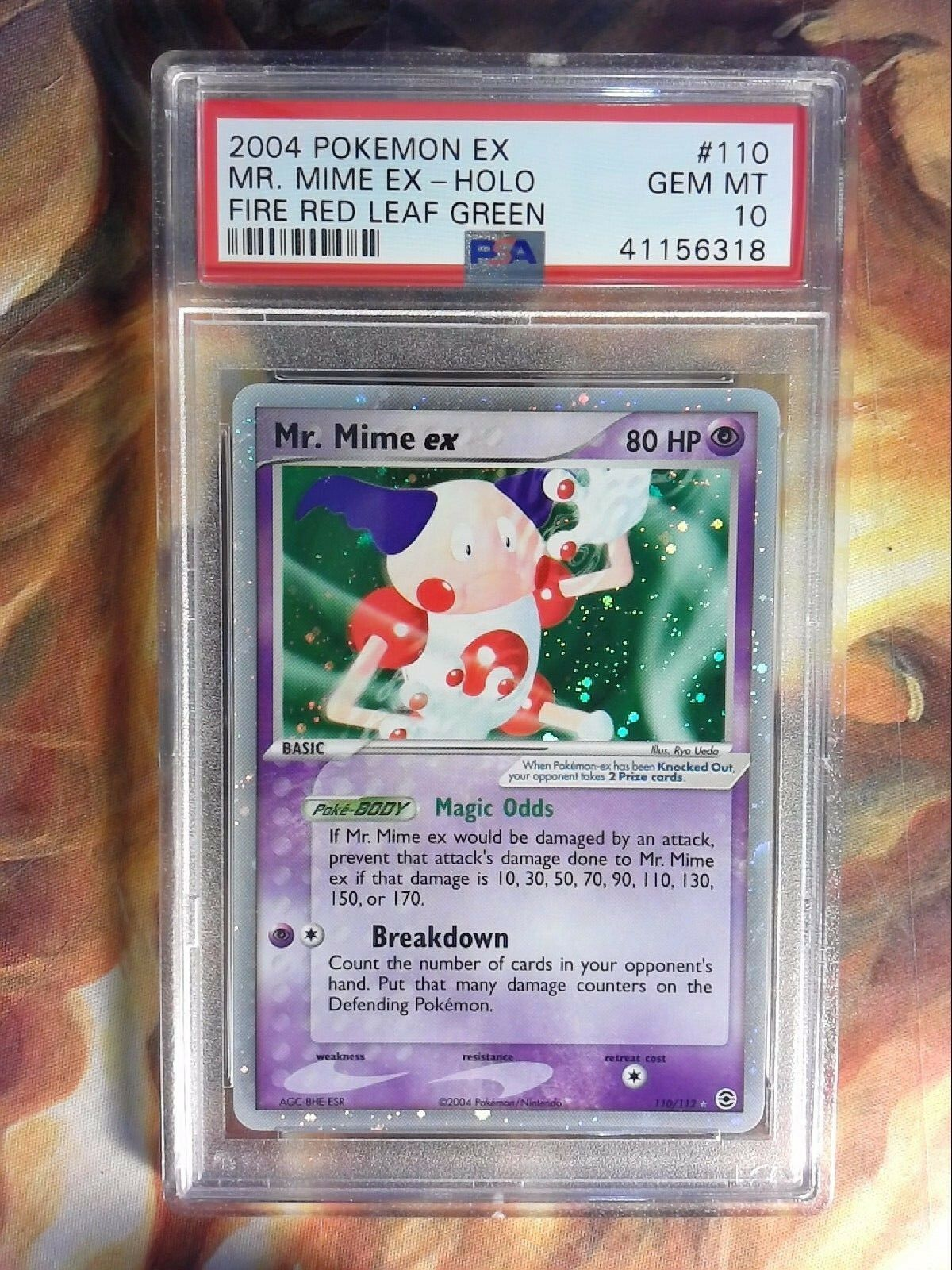 2004 Pokemon EX Fire Red Leaf Green 110 110 110 Mr. Mime EX-Holo PSA 10 Gem Mint Card 152da9