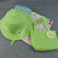 Stylish Sun Hat Kid Children Hats Flower Straw Cap Tote Handbag Bag Suit 9Color
