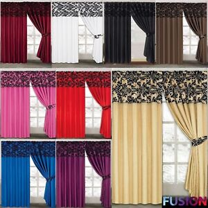 Image Is Loading LUXURY Damask Curtains Pair Of Half Flock Pencil