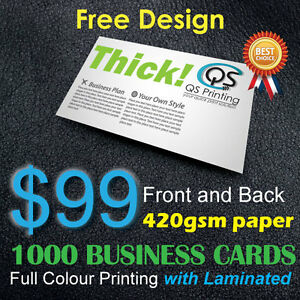 1000 business cards full colour printing frontback on for Business cards 1000