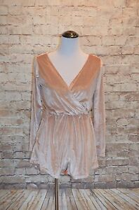 Piece lange Pink M mouwen Fun of All Nwt Nude In Modcloth Romper Velvet Pale 6 ZqAWHwBOx