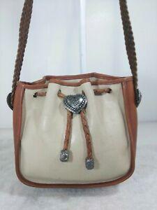 Brighton-leather-brown-ivory-drawstring-vintage-western-silver-decor-bag-purse
