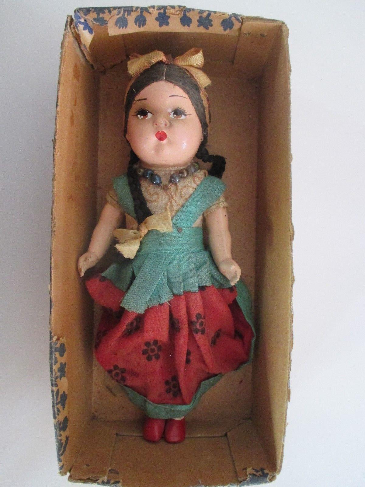 ANTIQUE BISQUE bambola MEXICAN SENORITA GIRL RARE IN scatola  9  Ttutti  risparmia fino al 50%