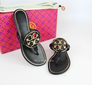 NEW-Tory-Burch-Miller-Metal-Logo-Thong-Leather-Sandals-Black-Gold-US-9-5