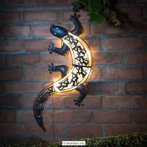 Energie-Solaire-DEL-Lumineux-Lumiere-Gecko-Metal-Jardin-Decoration-Mur-Art