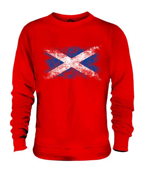 SCOTLAND DISTRESSED FLAG UNISEX SWEATER TOP SCOTTISH SCOTCH SHIRT FOOTBALL GIFT