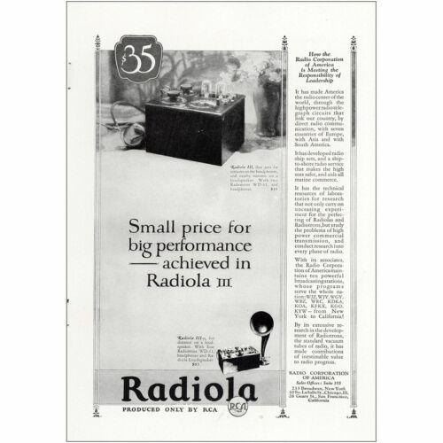 Small Price for Big Performance Vintage Print Ad 1925 Radiola