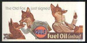 UNUSED 1950S INK BLOTTER ADVERTISING GULF FUEL OIL, FOXES MOTIF