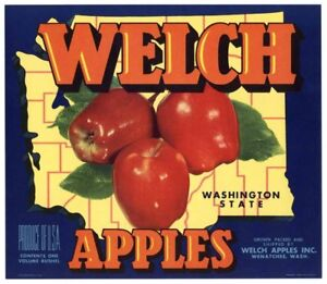 ORIGINAL APPLE CRATE LABEL WASHINGTON VINTAGE TYPOGRAPHY 1940 HI BUV ALL YELLOW
