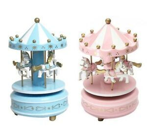 Wooden-Carousel-Music-Box-4-Horse-Mechanical-Merry-Go-Round-Wind-Up