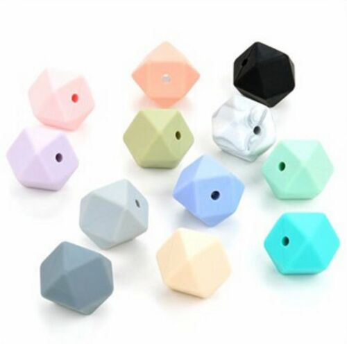 10 silicone beads LIGHT GREY mini hexagon 14mm BPA free teething jewellery light