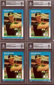 1987-Fleer-Glossy-U-76-Mark-McGwire-Rookie-BGS-Beckett-9-Mint-4ct-Lot