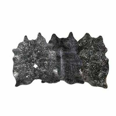 """Premium Cowhide Leat Gold Acid Washed On Black Dyed Cowhide XL7/'5/""""x6/'5/"""" Ft"""
