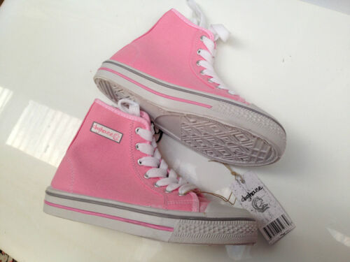 BNWT Womens Sz 5 Rivers Doghouse Pretty Pink Canvas Style High Top Jogger Boots