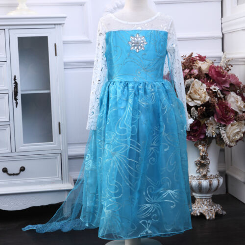 Elsa Frozen Girl Fancy Dress Long Cape Disney Cartoon Costume Party Birthday