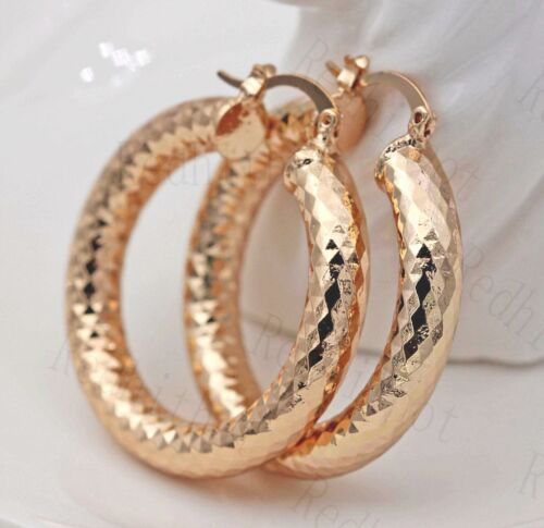 18K Gold Filled Earrings Big Round Carving Rhombus luxe fashion Hoop Parti de l/'ONU